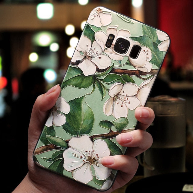 3D Flower Emboss Case For Samsung Galaxy J7 J3 J5 A5 J4 J6 A6 Plus A70 A7 2018 2016 2017 S7 S8 S9 S10 Plus A50 A30 A40 Case TPU