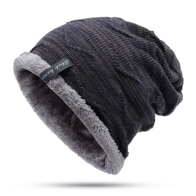 Mens Winter Plus Velvet Knitted Warm Skullcap Beanies
