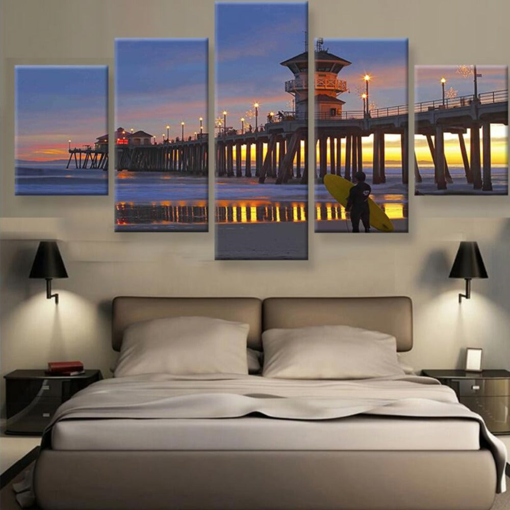 5 Piece Canvas Painting Huntington Beach Pier Sunset