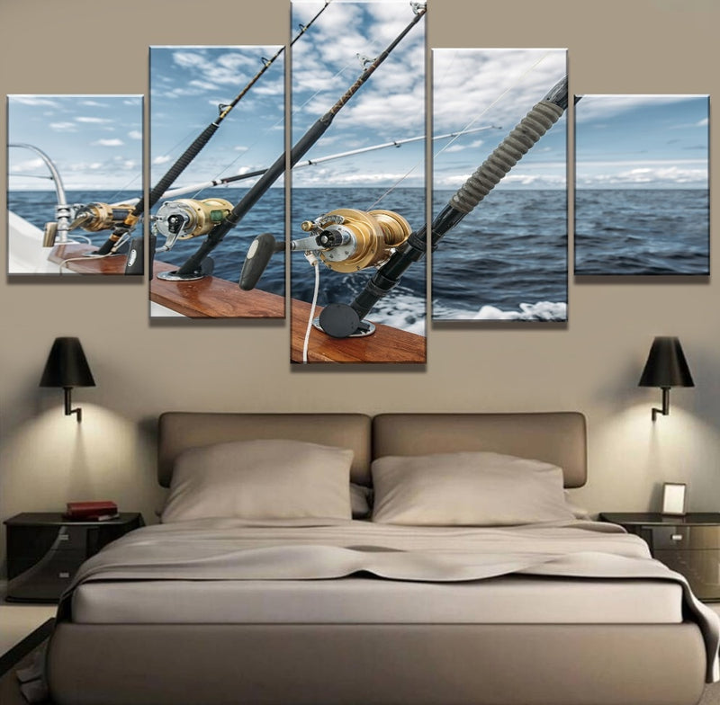 5 Piece HD Print Large Fishing In The Sea