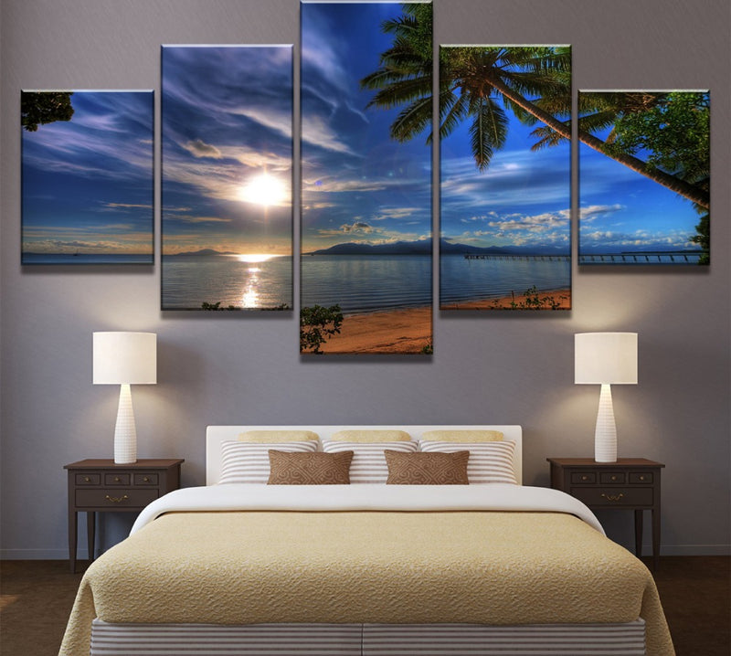 5 Piece HD Print Painting Tropical Beach Palm Trees Sunset