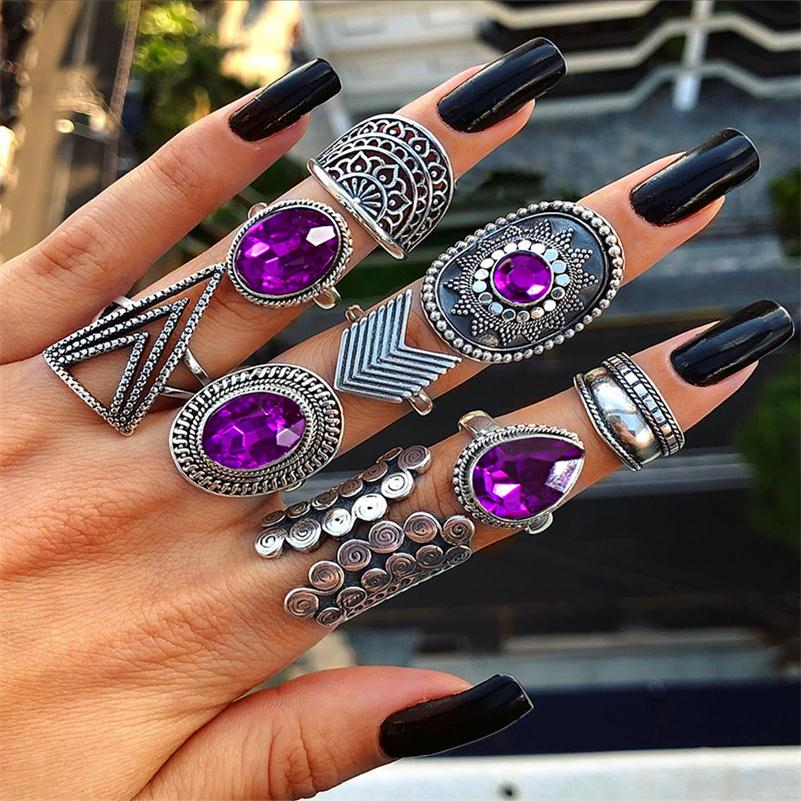9 Pcs/set Punk Exaggerated Geometry Triangle Arrow Sun Gem Crystal Silver Ring