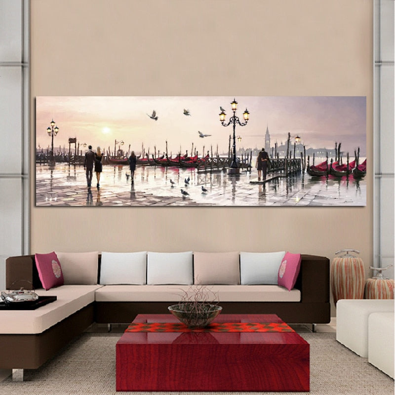 Abstract City View Oil Painting