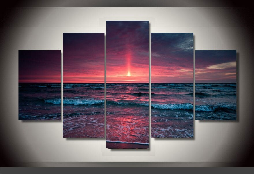 Decor C3 Sunset beach canvas print in 5 pieces