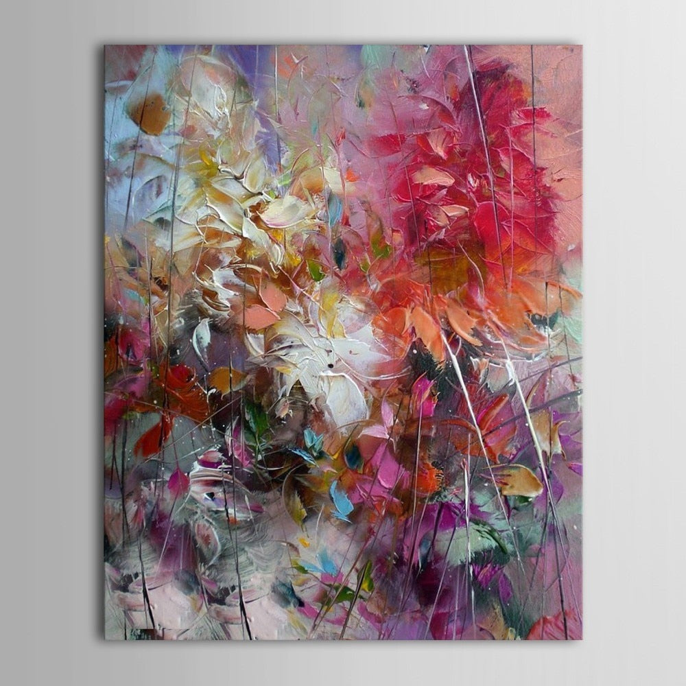 Big 100% Hand-painted Floral Purple Abstract Oil Painting