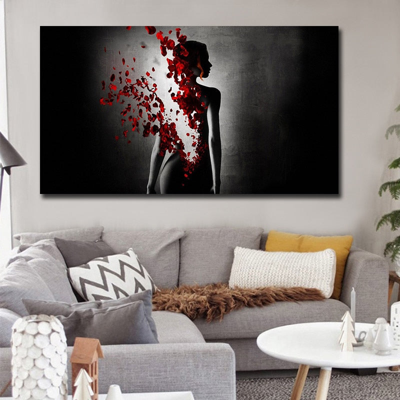 Butterfly Nude Woman Canvas Art