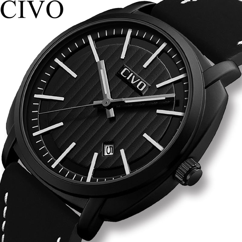 CIVO 2019 Mens Watches Military Waterproof Analogue Date Calendar Travel Sport Watches Mens Genuine Leather Quartz Wrist Watches