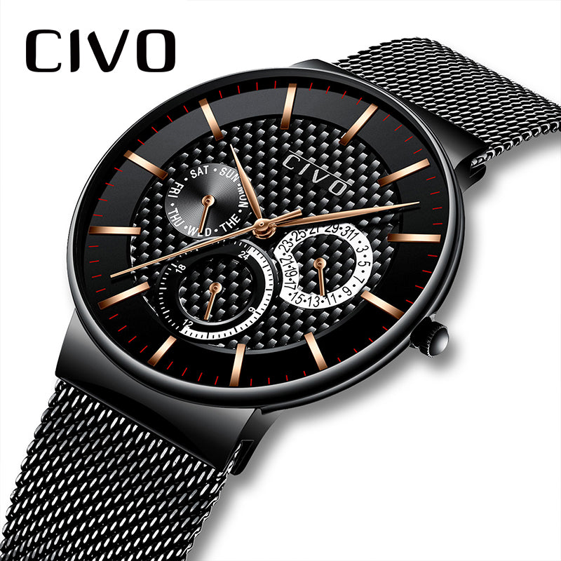 Full Steel Waterproof Clock Man Relogio Masculino