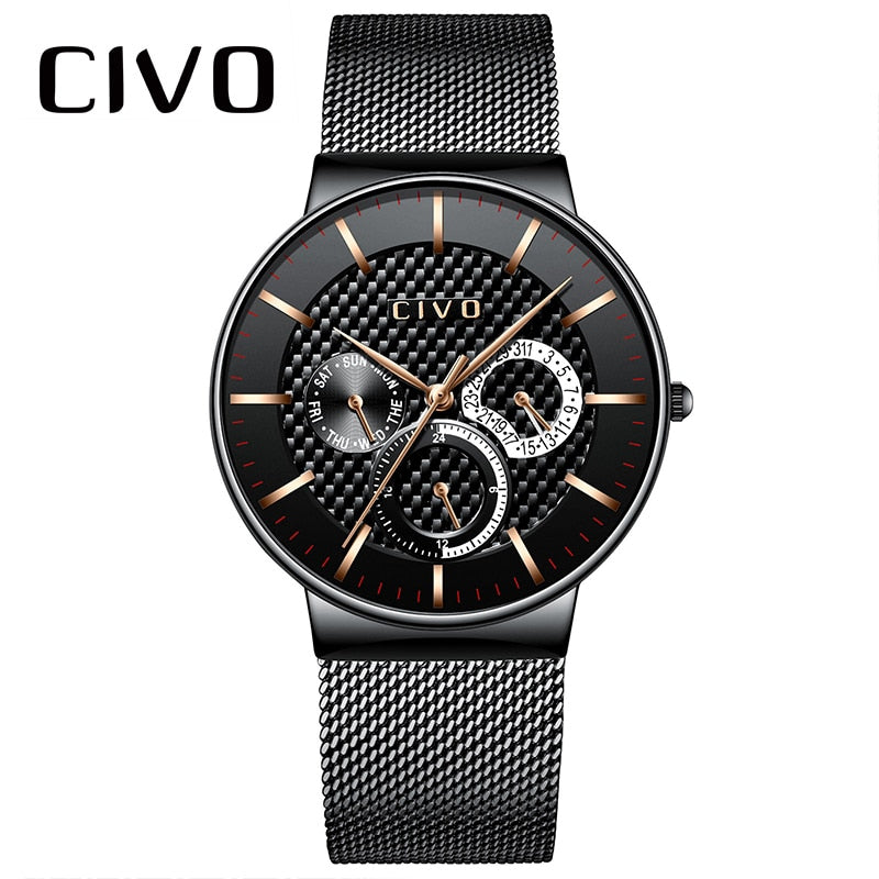 CIVO Mens Watches Quartz Waterproof Chronograph Date Watch Men Stainless Steel Mesh Analog Military Sports Watch Male Clock