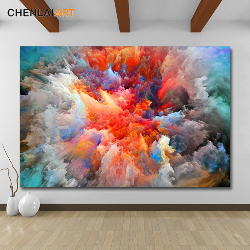 Canvas Prints Painting Modern Abstract Colorful clouds Wall Art Poster And Prints Pictures Home Decor For Living Room No Frame