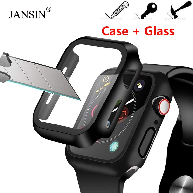 Case+Tempered Glass For Apple Watch 40mm 44mm Series