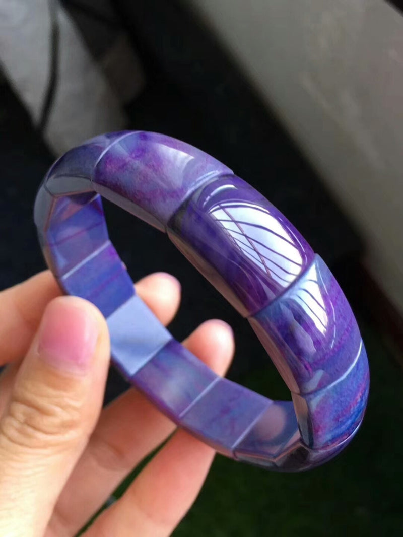 Certificate Natural Sugilite Royal Blue Bracelets 13mm Gemstone Sugilite Bangle Rectangle Beads Woman Healing Stone AAAAAA