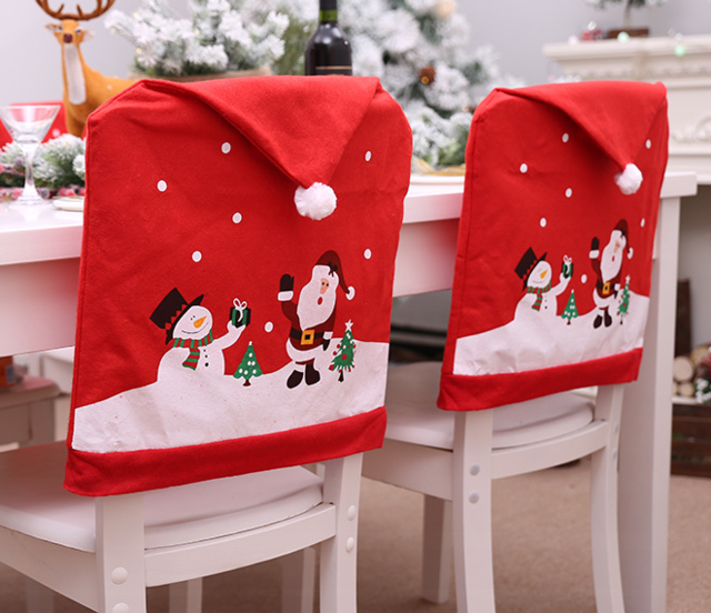 Christmas home background chair ornament Santa Claus hat Christmas chair cover dinner table red hat chair cover cover