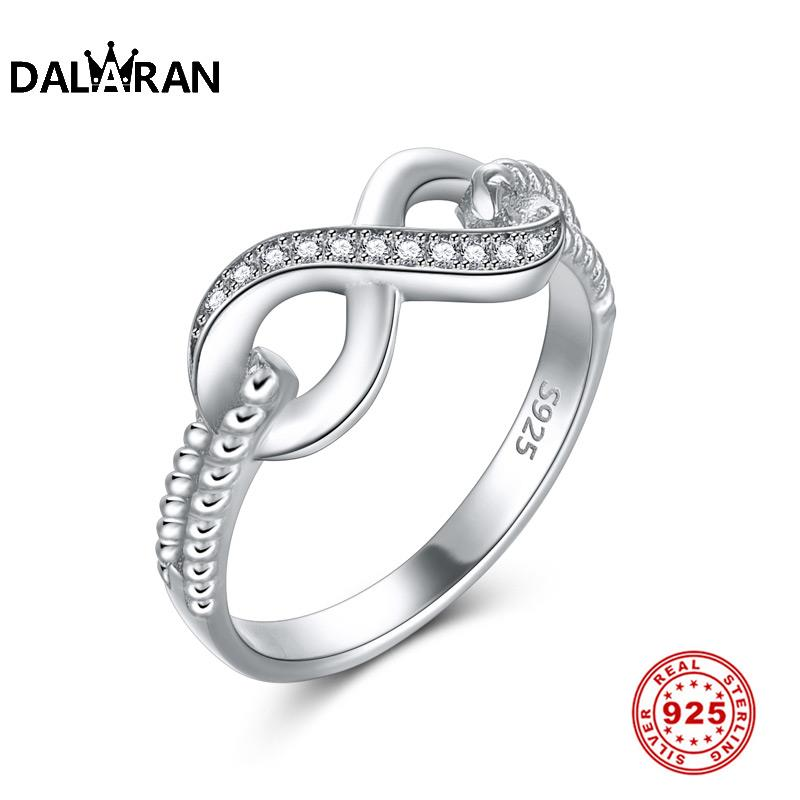 DALARAN Fashion Crystal Infinity Love Wedding Rings 100% 925 Sterling Silver Finger Rings for Women Fine Silver 925 Jewelry