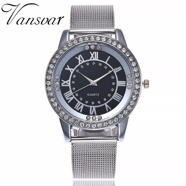 Silver & Rose Gold Mesh Woman Watch