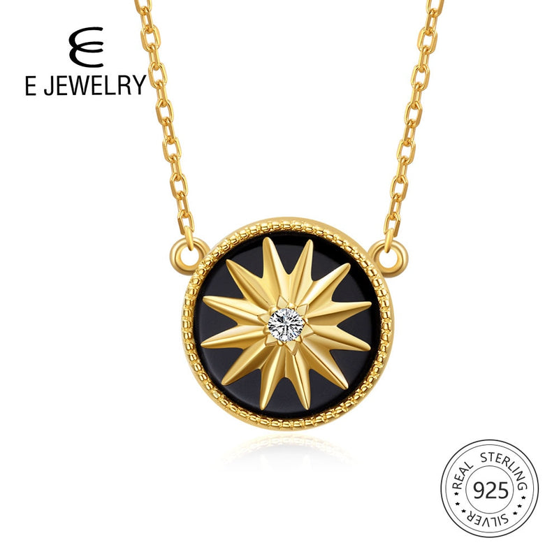 E Jewelry 925 Sterling Silver Pendant Necklace for Women Exquisite Round Star 18K Gold Plated Agate Chain Necklaces Long Choker