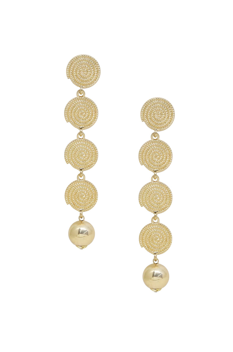 Gold Swirl Coin Drop Earrings