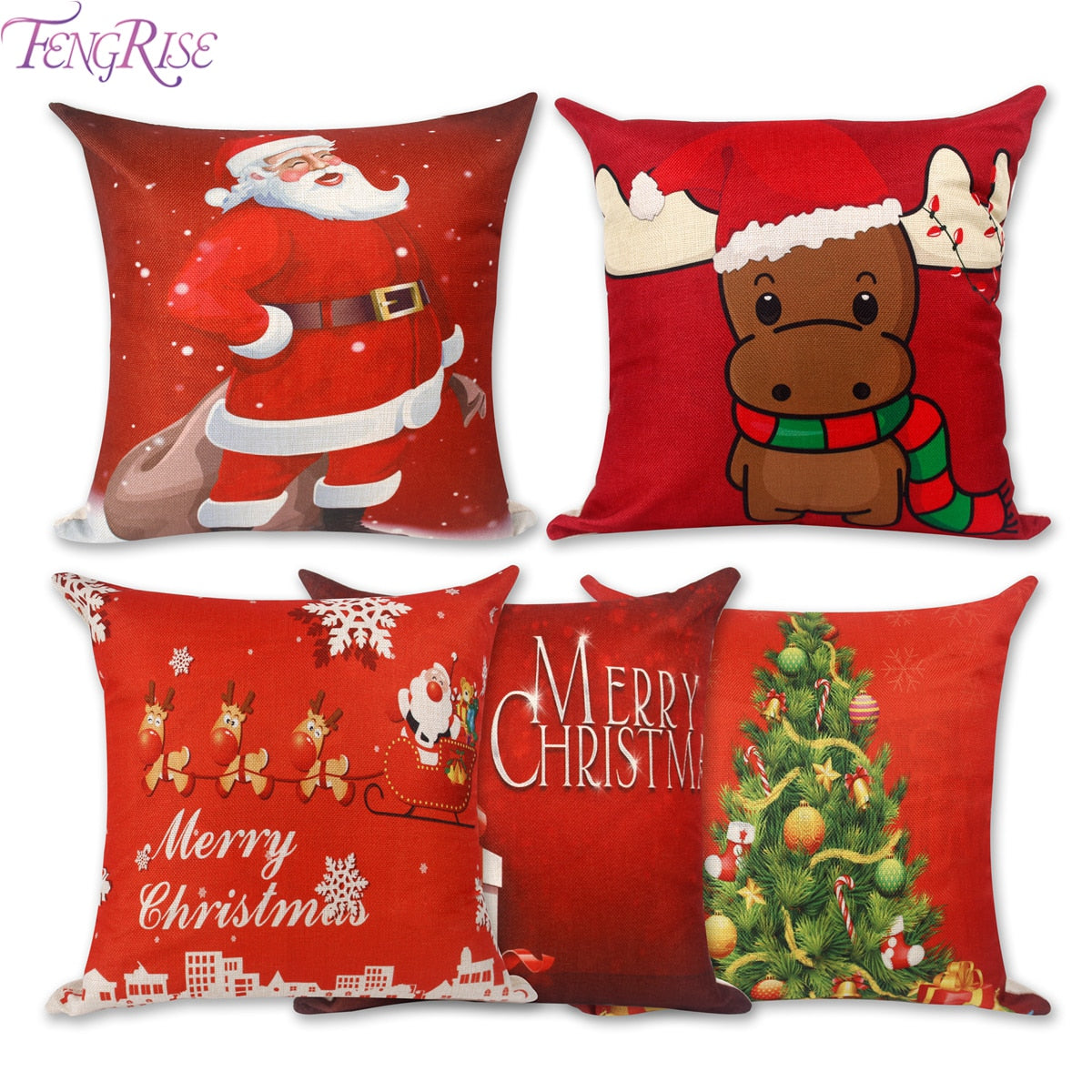 FENGRISE Merry Christmas Decoration For Home Santa Claus Reindeer Pillow Case Christmas 2019 Xmas Navidad Happy New Year 2020