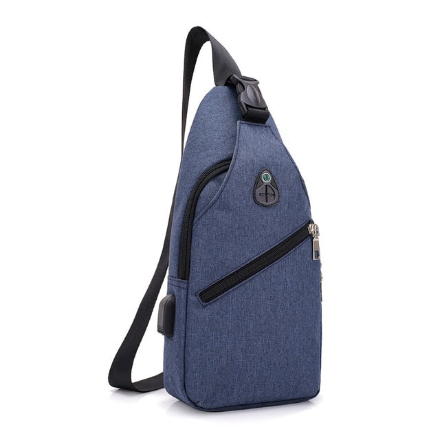 USB charging crossbody chest bag
