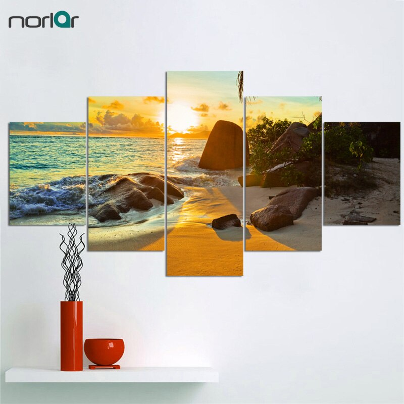 Frameless HD Print 5 Pcs Art Sunset Sea Beach Painting