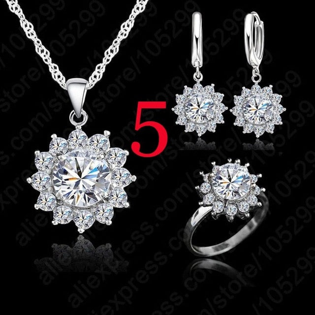 Giemi New Fashion SunFlower Cubic Zirconia 925 Sterling Silver