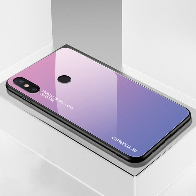 Gradient Tempered Glass Case For Xiaomi Redmi Note 7 5 6 8 Pro Pocophone F1 Mi8 Mi A2 Lite 6X Mi9 SE 9t Cover Protective Fundas
