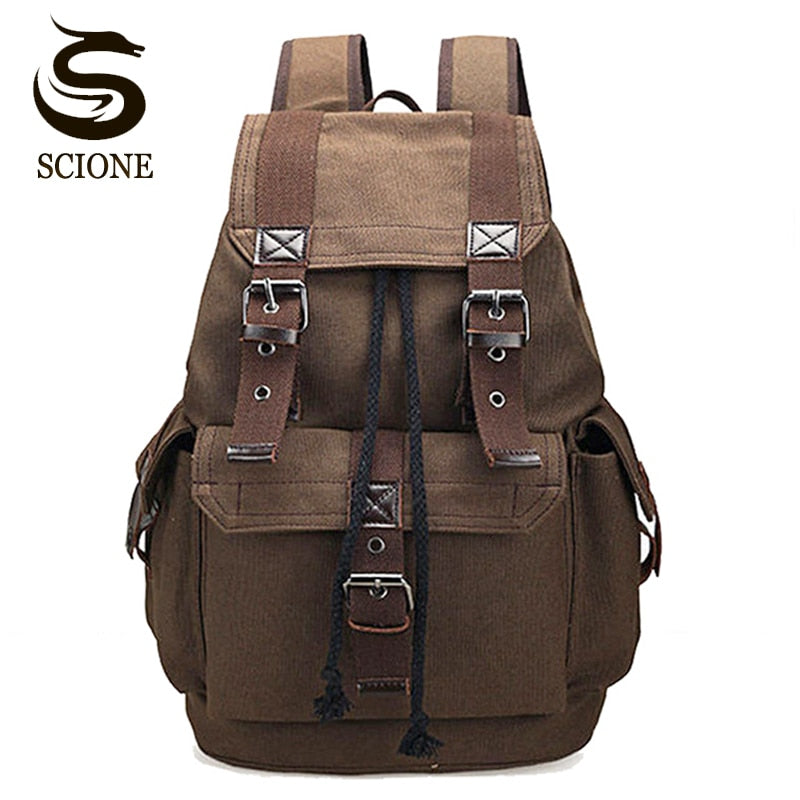 Scione Unisex Canvas Backpack School Rucksack Men  Drawstring Backpacks Women Travel Shoulder Bagpack Teenagers Laptop Back Pack