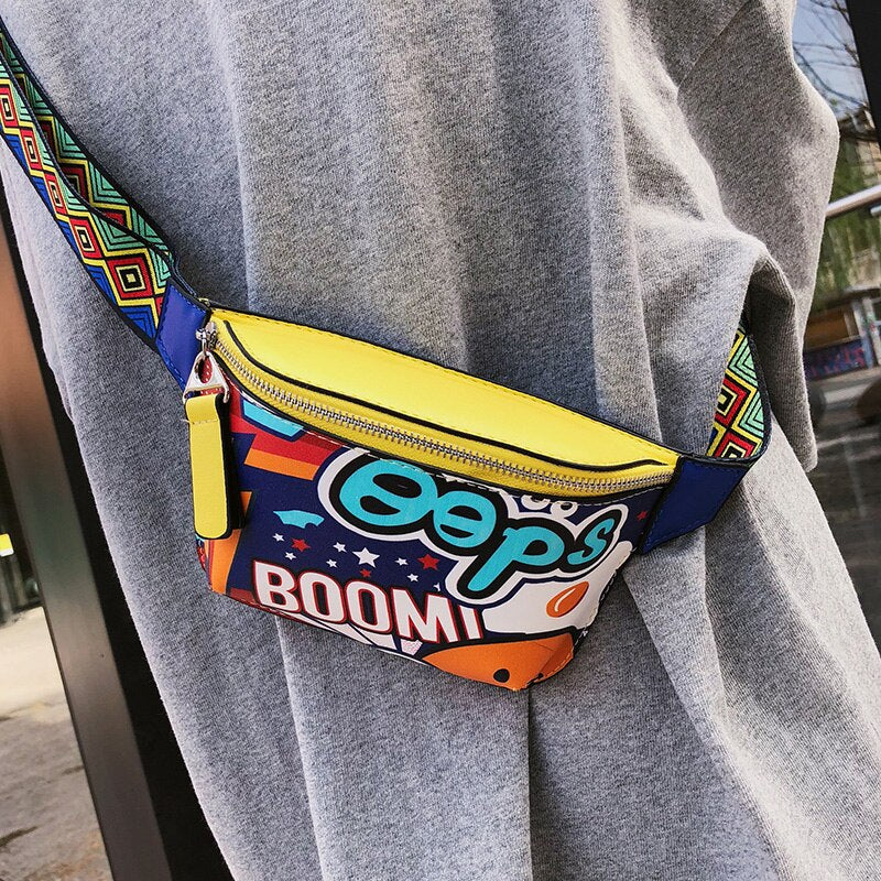 Colorful Women Waist Bags Fanny Pack Belt Bags Graffiti Chest Handbag Hip Purse Waist Packs Multi-function Chest Bag 2019 New