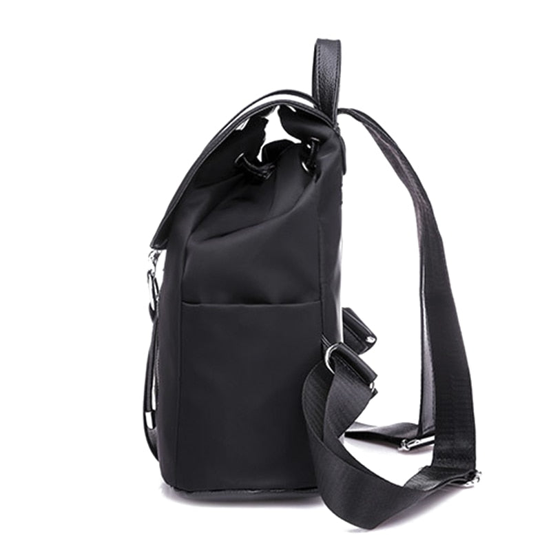 Women Backpack School Bags For Teenager Girls Nylon Zipper Lock Design Black Femme Mochila Female Backpack Fashion Sac A Dos