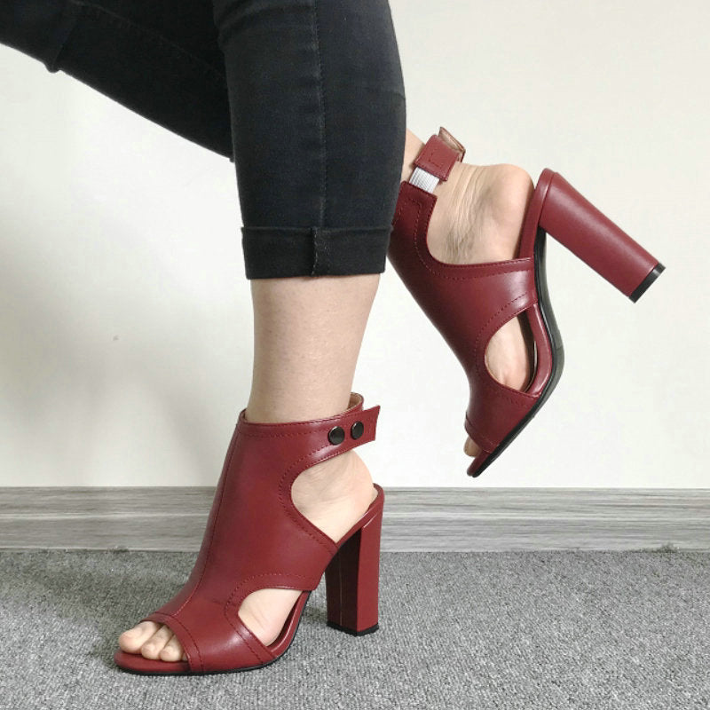 2019 Summer High Heels Sandals Women Fashion Open Toe Block Heels Shoes Woman Sandals Black Wine Red White Pink