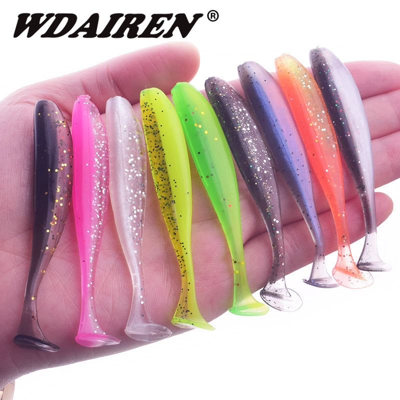 10Pcs/lot Wobbler Fishing Lure 75mm 2.2g Easy Shiner Jig Swimbait Artificial Double Color Silicone Soft Bait Carp Bass Lures