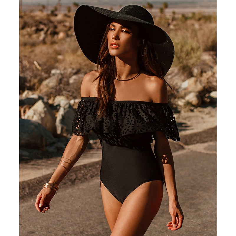 2018 New Sexy Off The Shoulder Solid Swimwear Women One Piece Swimsuit Female Bathing Suit Ruffle Monokini Swim Wear XL