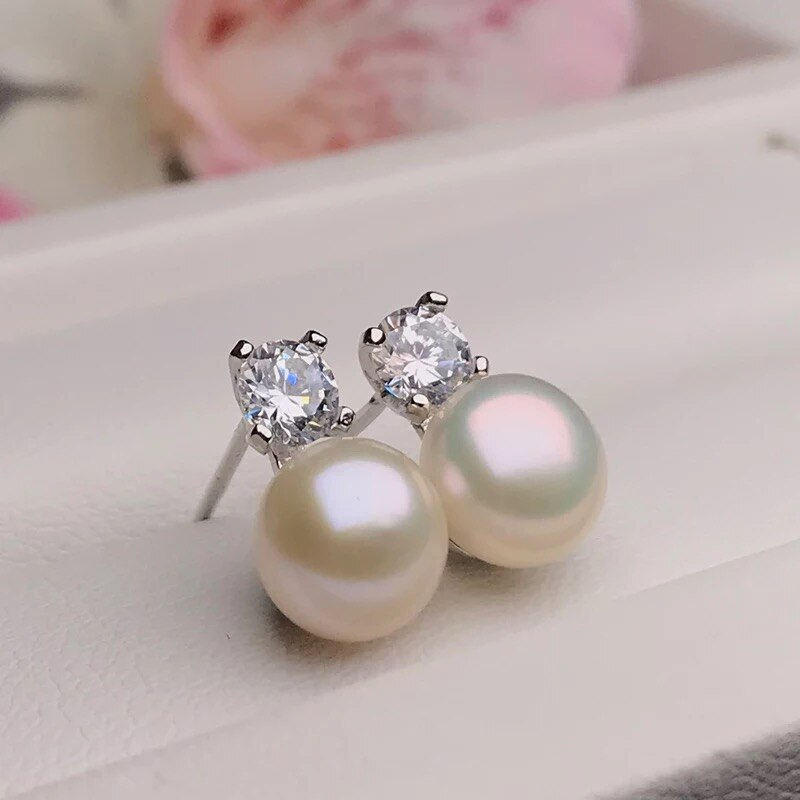 BaroqueOnly Shinny Studs Earrings 925 Silver Earrings Pearl Earrings Fine Jewelry Gifts for Women New White/Pink/Purple/Black
