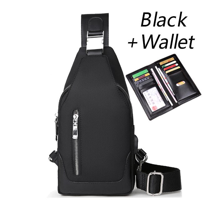 759996c7a4d4 Men's Messenger bag shoulder Oxford cloth Chest Bags Crossbody Casual  messenger bags Man USB charging Multifunction Handbag