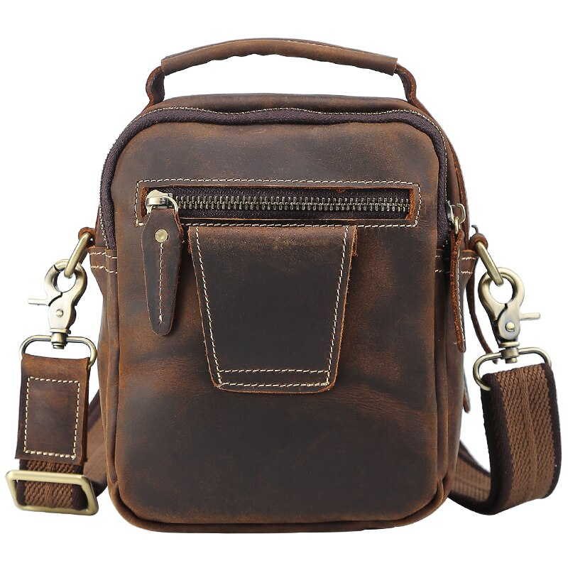 TIANHOO Mini messenger bags retro cow leather man bag corssbody handlebags multifunction high school bags totes