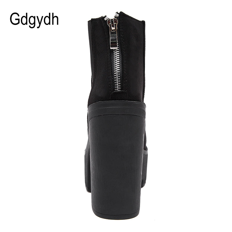 Gdgydh Fashion Black Ankle Boots For Women Thick Heels Spring Autumn Flock Platform Shoes High Heels Black Zipper Ladies Boots
