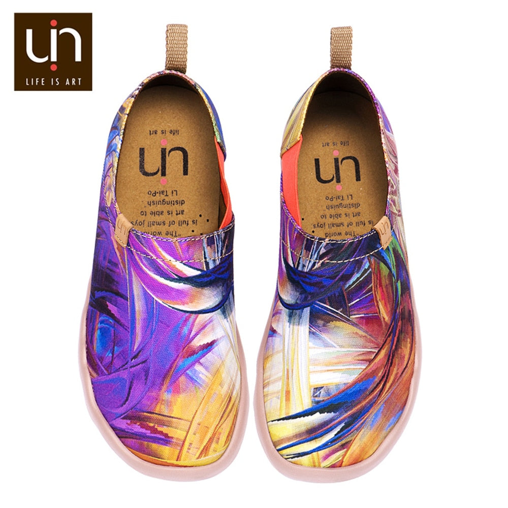 UIN Purple Dream Design Painted Travel Shoes for Women Slip-on Flats Colorful Fashion Outdoor Loafers Super Lightweight