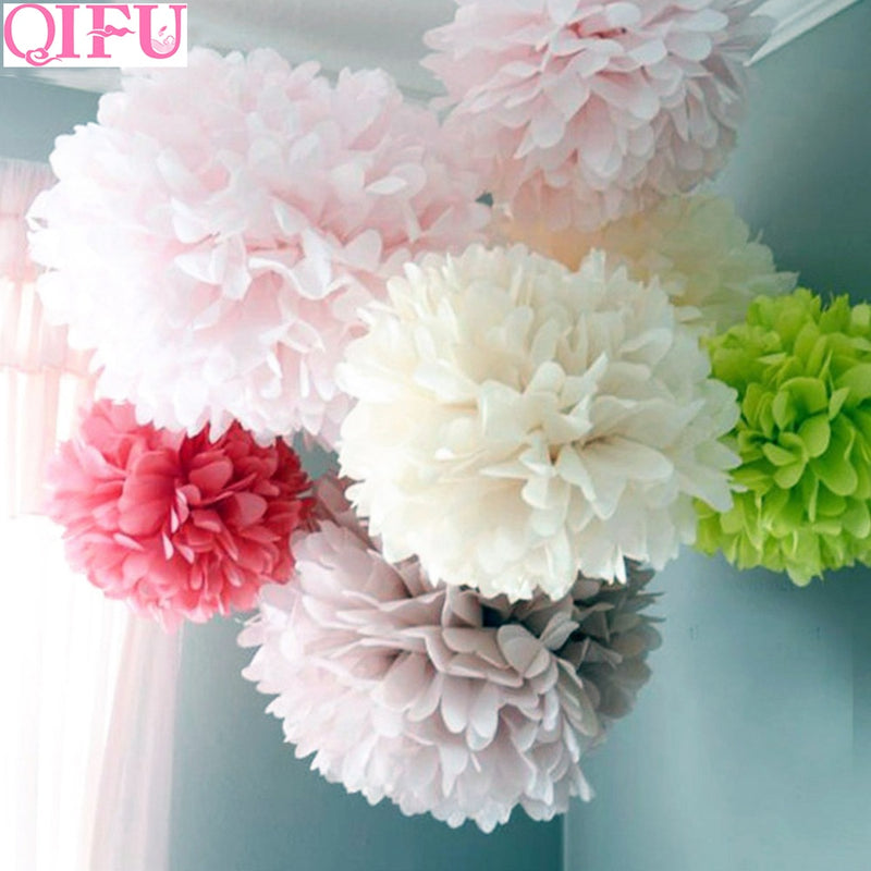 QIFU 5pcs 20cm 25cm Tissue Paper Pompom Garland Rustic Weeding Decoration for Weddings Decor Party Decor Bridal Shower Baby