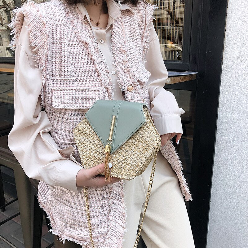 Hexagon Straw Bag Handbags Women Summer Rattan Bag Handmade Woven Beach Circle Bohemia PU Handbag New Fashion Mulit Style