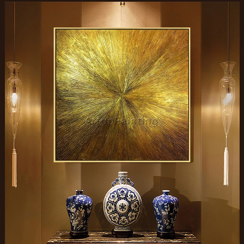 Geometric Gold art abstract painting on canvas acrylic texture wall art pictures for living room home quadros caudros decoracion