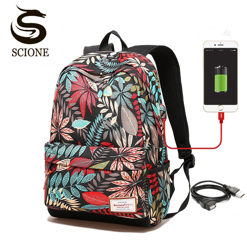 Hot USB Charging Laptop Backpack Women For Teenage Students Girls School Backpack Bag Printing Female Backpacks Travel Bagpack