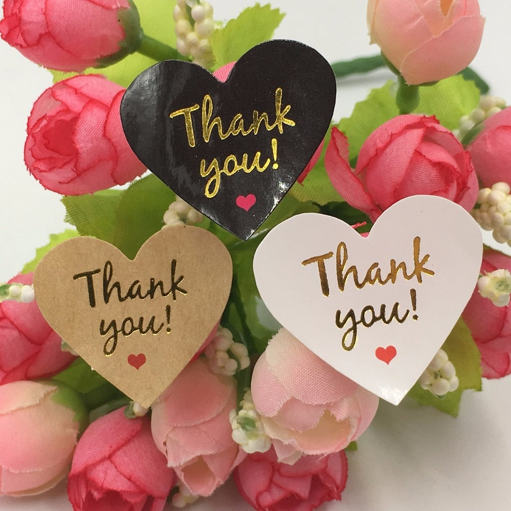 "100pcs/lot  gold "" Thank You"" Kawaii heart adhesive stickers for homemade bakery&gift & wedding decoration"