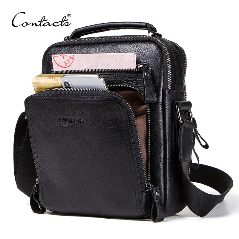 "CONTACT'S 100% genuine leather men shoulder bag crossbody bags for men high quality bolsas fashion messenger bag for 9.7"" Ipad"