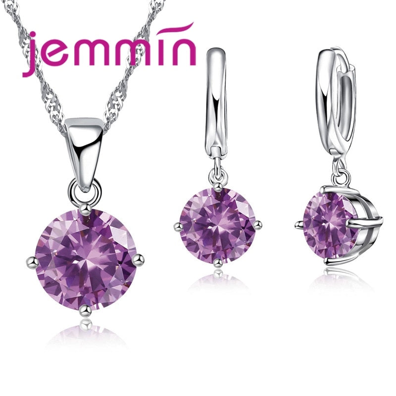 Jemmin 8 Colour AAA Crystal 925 Sterling Silver Pendants Earring Necklace Set Women Girls Party Four-Claw Jewelry