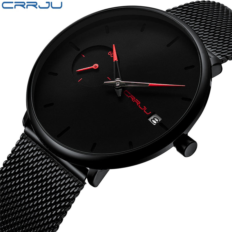 Crrju Sports Date Mens Watches Top Brand Luxury Waterproof Sport Watch Men Ultra Thin Dial Quartz Watch Casual Relogio Masculino