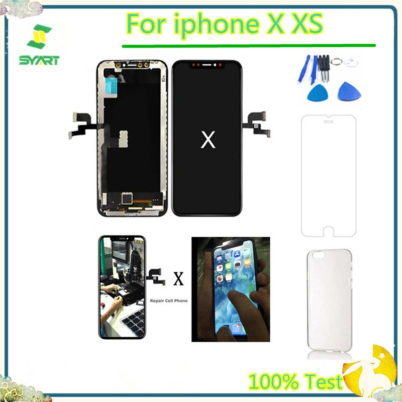 100% Test TFT OLED For iphoneX XS Pantalla Komplett Einheit LCD Display Screen Touch Digitizer Assembly For iPhone X 10 XS lcd