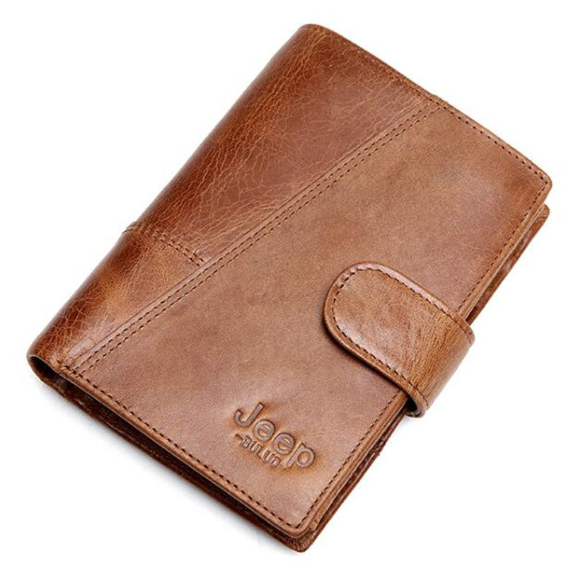 Jeep Brand Genuine Cow Leather Men Women Wallet Fashion Coin Pocket Trifold Design Men Purse High Quality Ladies Card ID Holder