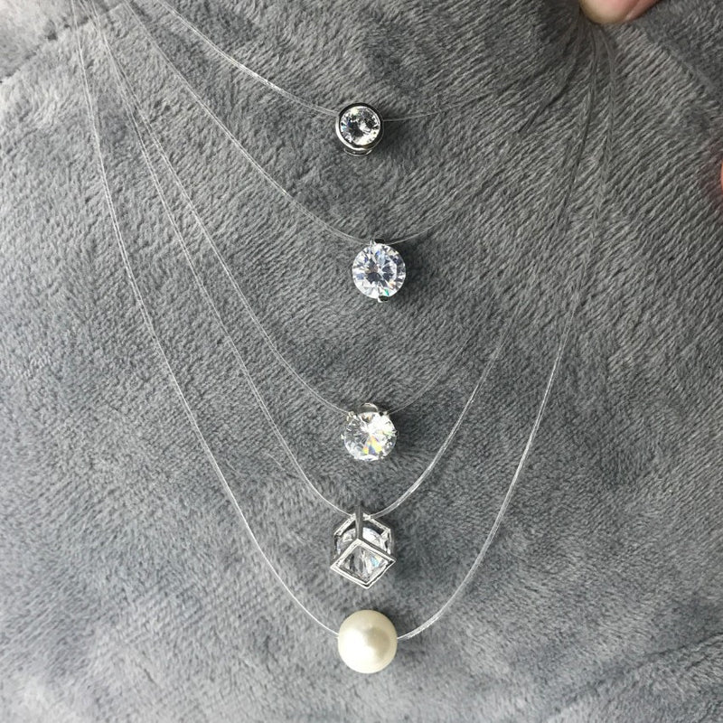 New Personality Fashion Square Imitation Pearl Crystal Zircon Zircon Necklace Invisible Transparent Fishing Line Necklace Women