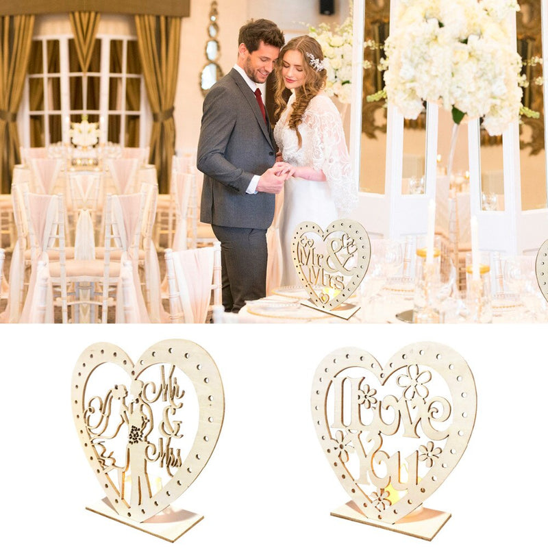QIFU MR MRS Wedding Wooden Heart-Shape Ornaments With LED Light Rustic Wedding Decoration Wedding Event Party Decor Weeding