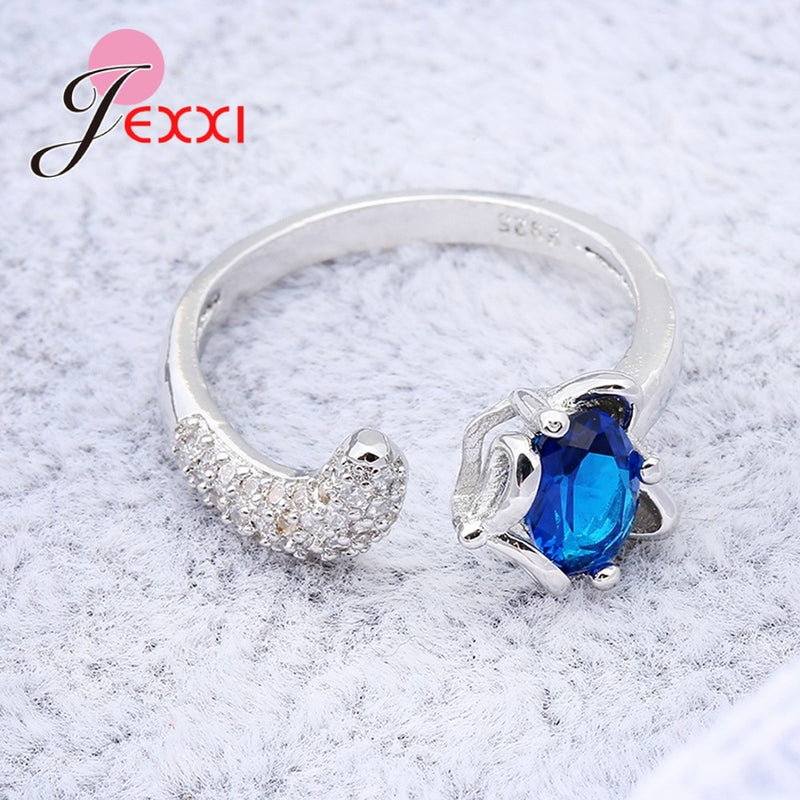 JEMMIN Fashion Fox Open Ring With shiny CZ Charm 925 Sterling Silver Women Appointment Jewelry Romantic Gift High Quality